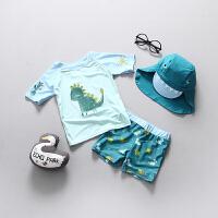 儿童泳衣男童宝宝婴儿游泳衣保暖泳衣分体小童防晒套装冲浪服