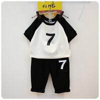 夏装儿童韩版数字7短袖T恤裤子两件套男女童装运动套装174262