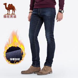 骆驼男装 秋冬新款青年纯色加绒加厚水洗直筒商务牛仔长裤男
