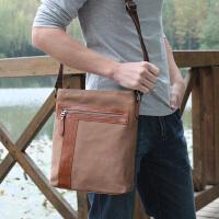 新款帆布包包单肩包男士休闲背包包斜挎包潮男学生竖款运动小跨包 时尚卡其色