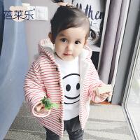 宝宝衣服冬季1岁6个月童新生儿加厚保暖连帽外套冬装婴儿服