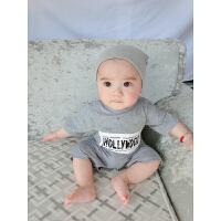 婴儿连体衣服宝宝季婴装哈衣新生儿睡衣短袖03个月1岁新年