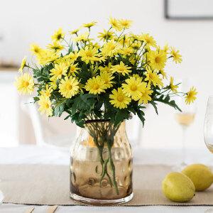 奇居良品 仿真绢花整体花艺伊薇特波浪口玻璃花瓶配9头韩式菊花套装