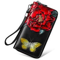 女士钱包长款2018新款韩版多功能手抓包气质真皮皮雕牡丹钱夹手包