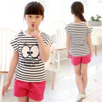 女童T恤短袖夏装中大童儿童韩版卡通体恤衫半袖可爱学生上衣 黑色