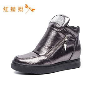 【专柜正品】红蜻蜓女鞋冬季新款厚底休闲鞋女韩版显瘦高帮鞋