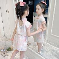 女童套装洋气夏装中大童儿童旗袍夏季童装女孩套裙两件套