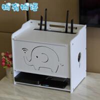 路由器收纳盒 无线wifi电线电源插线板整理盒猫机顶盒透气散热集线盒置物架