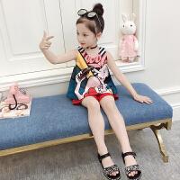2018新款套装洋气时髦儿童夏季两件套韩版时尚潮女孩衣服女童夏装