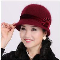兔毛针织帽毛线帽中老年人帽子女士盆帽奶奶保暖妈妈帽围巾