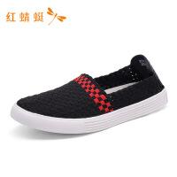 红蜻蜓新款圆头套脚舒适低跟百搭轻便一脚蹬休闲男鞋轻便板鞋-