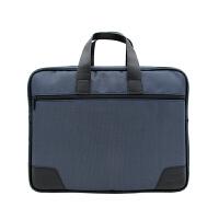 公文包会议包男士帆布拉链文件包资料袋商务办公电脑包手提包 蓝色