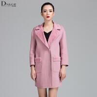 秋冬女士中长款外套时尚修身羊毛呢大衣C16053