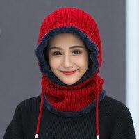 户外骑车针织帽包头帽女 韩版潮加绒帽子女 保暖围脖一体帽女士毛线帽