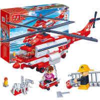 【小颗粒】邦宝益智拼插积木教玩具礼物飞机 城市消防直升机8315