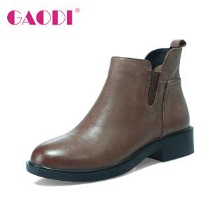 高蒂切尔西短靴女粗跟平底英伦风冬季新款真皮马丁靴牛皮靴子女