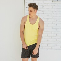夏季新款工字背心男 健身衣 无袖跑步T恤 宽松透气舒适休闲衣 时尚潮流 黄色(102工字背心)