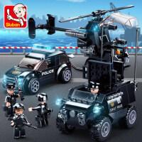 积木拼装玩具益智力动脑多功能海陆空警察飞机拼插模型男孩子礼物