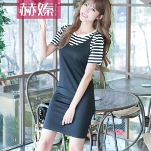【hersheson赫��】2017新款韩版短袖条纹女T恤+V领吊带连衣裙修身两件套包臀裙H6675