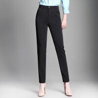 新款女士休闲哈伦休闲西裤女装新款长裤韩版百搭女士职业裤 黑色