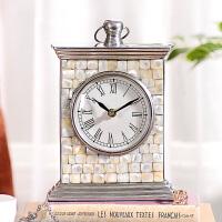 奇居良品 现代简约家居客厅装饰摆件西维亚铝制贝壳面台面座钟