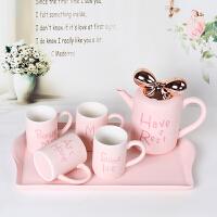 情侣杯子蝴蝶结茶壶欧式茶具六件套装水杯家用客厅杯具陶瓷咖啡杯 粉色套装