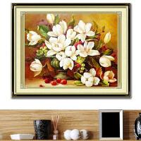 新款精准印花丝线十字绣栀子花开油画花瓶客厅餐厅大画花卉