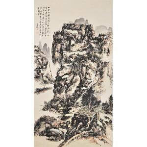C1768黄宾虹(款)《深山行旅图》(原装旧裱满斑)