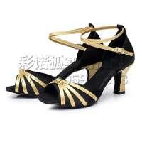 秋冬交谊舞舞蹈鞋子中跟舒适跳舞鞋  女士拉丁舞鞋成人中跟耐磨软底跳舞鞋