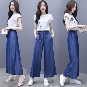 班图诗妮 2018新款女装夏装两件套雪纺上衣宽松牛仔裤薄夏季休闲时尚套装女