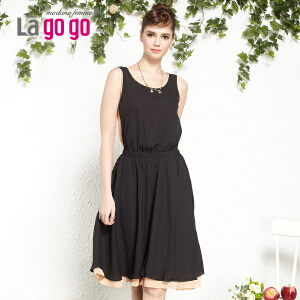 lagogo拉谷谷夏季新款拼接收腰显瘦雪纺连衣裙