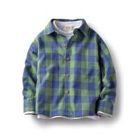 童装春季男童衬衫长袖中大童格子衬衣儿童上衣