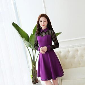 2018秋季新款韩版女装修身显瘦中长款连衣裙外穿淑女气质潮流裙子