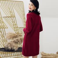 秋冬新款半高领羊绒衫女中长款套头打底连衣裙针织衫毛衣