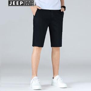 JEEP吉普夏季薄款短裤男2018新品莫代尔棉舒适微弹休闲五分裤直筒沙滩裤