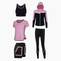 2018新款春夏瑜伽服套装女大码短袖跑步显瘦运动健身服女四五件套 粉色五件套 M