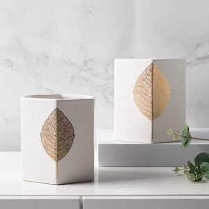 奇居良品 北欧现代白色陶瓷花瓶花盆 桑塔金叶白色陶瓷花瓶花盆