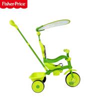 【当当自营】费雪Fisher Price儿童脚踏手推车宝宝遮阳伞推车踏行三轮车2029 绿色
