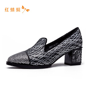 红蜻蜓新款粗高跟浅口单鞋