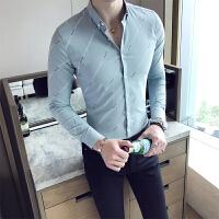 男士长袖衬衫青年韩版修身商务休闲衬衣夜店发型师寸衫潮