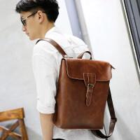 双肩包男旅游包时尚潮流男士背包大容量PU皮包包韩版学生书包 咖啡色