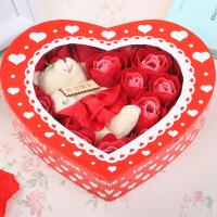 浪漫礼品毛绒小熊心形玫瑰香皂花(20朵)--红色