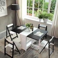 北欧实木折叠餐桌椅组合可伸缩功能公寓长方形桌子小户型饭桌餐台