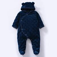 连体衣服婴儿冬装6加厚5棉衣宝宝哈衣冬季新生儿外出服03月