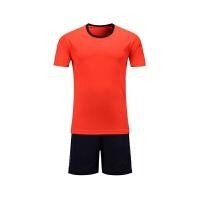 儿童足球服套装足球队服男组队短袖学生足球比赛服速干透气 橙色 儿童 S