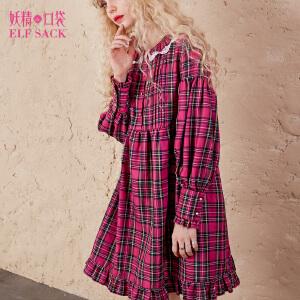 妖精的口袋请教佩小姐秋装新款宽松荷叶边蕾丝短裙连衣裙女