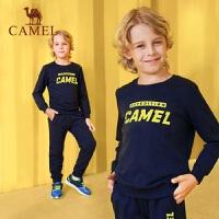 骆驼童装秋季儿童保暖运动套装男童加厚微弹拼接女童跑步服两件套