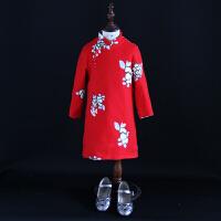 2018女童冬装新款改良旗袍裙儿童立领毛呢绣花连衣裙亲子装母女装
