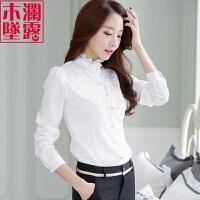 长袖衬衫女雪纺2018秋装新款韩版百搭上衣立领蕾丝白色打底衬衣寸