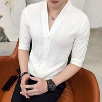 2018夏季新款男士七分袖衬衫纯色个性盘扣修身青年发型师 衬衣潮